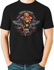 Biker T Shirt Knucklehead Motorcycle Route 66 Mens Sizes Small to 6XL and Tall