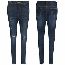 Womens Ladies Ripped Destroyed Distressed Knee Cut Out Pants Trouser Denim Jeans