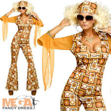 Disco Diva Ladies Fancy Dress Dance 1970s Funk Womens Adults Costume 70s Outfit