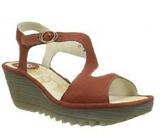 FLY LONDON YANCA LEATHER WEDGE SANDALS BRICK