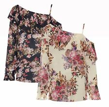 Womens Plus Size Chiffon Off Shoulder Floral Print Layered Frill Long Sleeve Top