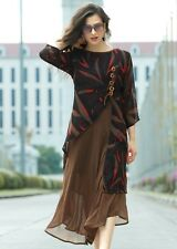 Brown Color Georgette Readymade Party Wear Kurtis
