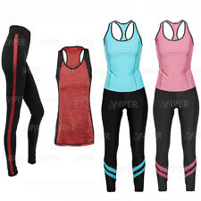Women Yoga Fitness Leggings Vest Running Gym Stretch Sports Pants Workout 2pcs