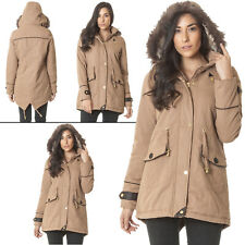Ladies Brave Soul Long Coat Womens Hooded Jacket Winter Parka Outwear Zipped Top