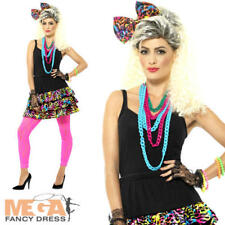 1980s Party Girl Kit Dancer Ladies Fancy Dress Neon Retro Funky Women's Costume