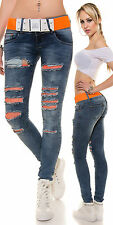 Sexy Women Jeans Top Ladies Skinny Trouser Ripped Clubbing Pant Size 8 10 12 14