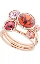 TED BAKER THREE ROSE GOLD TONE JACKIE: STACK RING - CORAL MULTI.