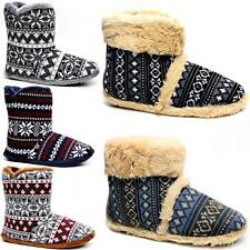 MENS SLIPPERS COOLERS ANKLE FLEECE FUR WARM LINED FAIRISLE WINTER BOOTS SHOES
