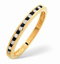 Eternity Ring Diamond and Sapphire Yellow Gold Channel Set Band Certificate