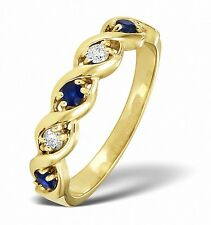 Eternity Ring Sapphire and Diamond Yellow Gold Twist Band Size F - Z Certificate