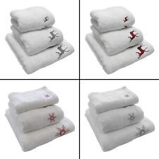 REINDEER STAG SNOWFLAKE CHRISTMAS 100% COTTON SUPERSOFT TOWEL WHITE RED GREY