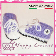 CROCHET BABY SHOES SCARPINE BIMBA A UNCINETTO SNEAKERS CONVERSE ALL STAR LILLA