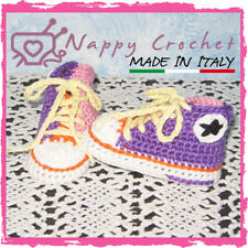 SCARPINE NEONATO A UNCINETTO MULTICOLOR SNEAKERS ALL STAR CONVERSE BABY CROCHET