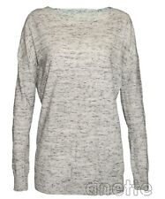 BENCH Long Line Ladies Jumper Grey Marl Ribbed Trim Long Sleeve Boat Neck BNWT