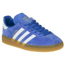 New Boys adidas Blue Munchen Suede Trainers Retro Lace Up