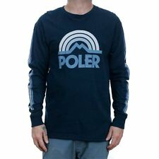 Poler Stuff Mountain Rainbow Long Sleeved T-Shirt Navy Tee New Free Delivery