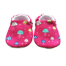 baby pram shoes, soft sole shoes, crib shoes, first walkers bibs Pink Toadstools