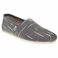 New Mens Toms Grey Classic Textile Shoes Canvas Slip On
