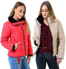 New Ladies Womens Quilted Puffer Padded Bubble Fur Collar Thick Warm Jacket Coat