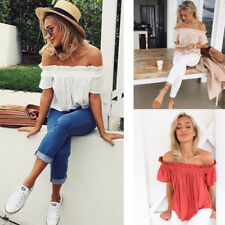 Womens Sexy Off Shoulder Short Sleeve Tops Summer Casual Loose Blouse T-shirt