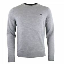 Fred Perry Pull gris laine Merinos col rond K7211