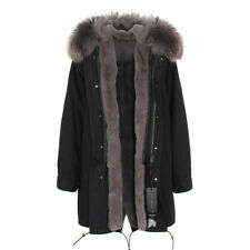UNISEX LONG Warm Luxury Colored REAL FUR Hood Coat Jacket Parka