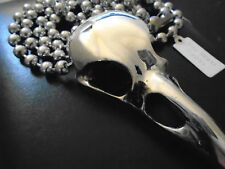 ASTOUNDING  Silver Raven Skull pendant Wicca,Biker, Goth, VERY BIG 81 cm new tag