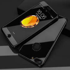 Cover iPhone 5 6 plus 7 8 SEHybrid 360° Hard Thin Mirror Case +Tempered Glass