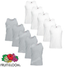 10 CANOTTE BIANCHE GRIGIE CANOTTIERE UOMO FRUIT OF THE LOOM  VALUEWEIGHT
