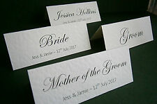 90 Personalised Wedding Place Cards, Name Cards - White, Ivory - Made to Order