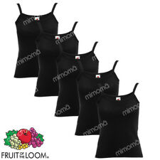 5 CANOTTE DONNA NERE CANOTTIERE FRUIT OF THE LOOM LADY