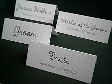 10 Personalised Wedding Place Cards, Name Cards - White, Ivory - Made to Order