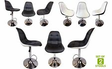 x2 Bar Stools Chrome Faux Leather Kitchen Pub Breakfast Bar Man Cave Chair