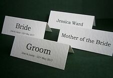 1-10 Personalised Wedding Place Cards, Name Cards - White, Ivory - Made to Order