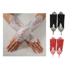 Bride Wedding Party Fingerless Pearl Lace Satin Bridal Gloves Fancy P2P3