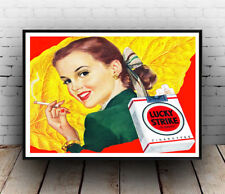 Lucky strike  : Vintage Cigarette advert, Wall art ,poster, Reproduction.