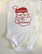 Personalised Baby's 1st christmas vest  any name, all sizes tiny baby to 1 year