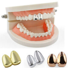 Hip Hop 14K Gold Plated Double Two Tooth Teeth  Grill Canine Cap XA