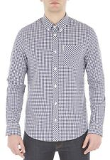 Ben Sherman Cotton Gingham Check Shirt Regular Long Sleeve Button Blue Depths