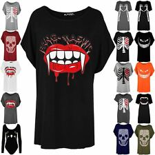 Womens Halloween Loose Fit Fang Tastic Bleeding Lip Top Ladies Batwing T Shirt