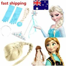 Frozen Princess Elsa Anna Gloves Tiara Crown Braid Wig Hair Piece Wand Kid NEWYT