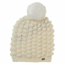 New Womens Superdry Natural Bobble Stitch Acrylic/Wool Beanie Hats
