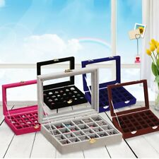 Organizer Case Box Holder Storage Glass Jewelry Earring Velvet Display Ring YQ
