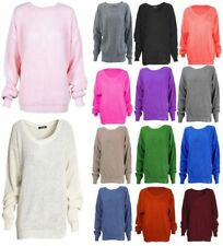 Ladies Knitted Plain Chunky Baggy Jumper Women Oversized Fisherman Sweater Top