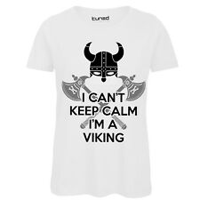 Maglietta Divertente Donna T-Shirt Cotone Con Stampa Keep Calm Viking Tuned