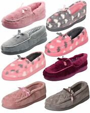 Ladies Moccasin Slippers Slip on Soft Padded Faux Fur Lining Warm Indoor Shoes