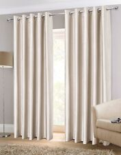Sundour Luxury Faux Silk Fully Lined Eyelet Curtains Natural