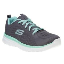 New Womens Skechers Grey Graceful Get Connected Nylon Trainers Running Style
