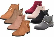 New Women Chelsea Ankle Boots Winter Block Heel Ladies Biker Style Boots