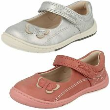 bambini Clarks da Argento/rosa in pelle Mary Jane stile shoes-softly WOW